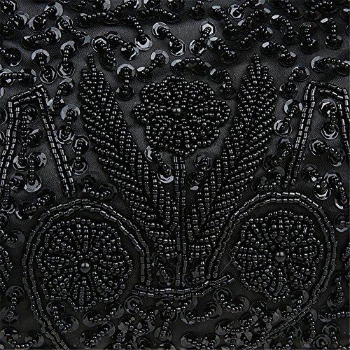 HWAN Sequin Korn Metallrahmen Kissing Lock Damen Geldbeutel Abend Handbag Soft Paillette Kupplungen Frauen mit Schulter Kette Schwarz