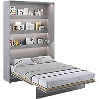 LENART Lit escamotable Bed Concept Vertical 140 x 200 Gris Graphite Mat