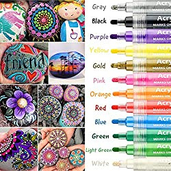 Acrylic Paint Pens,YITHINC 12 Colors Fine Tip Acrylic Painter for Stone Paper Glass Plastic Ceramic Permanent Water Based with 6mm Reversible Round and Chisel Tip