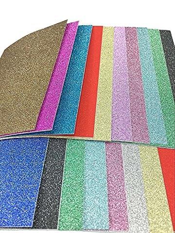 Glitterkarton A4 300g/qm, 20x30cm, 20 Bogen, TankerStreet Glitterpapier Bastelpapier für Handwerk DIY Kartenherstellung Glitzert Papier (Vinyl Artigianato Segni)