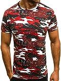 OZONEE Mix Herren T-Shirt Aufnäher Kurzarm Camouflage Rundhals Figurbetont Shirt Slim-Fit JS/SS231 Rot L