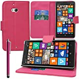 VComp-Shop® PU-Leder Handy Brieftasche mit Kartenfächer und Video-Standfunktion für Nokia Lumia 930 + Großer Eingabestift + GRATIS Displayschutzfolie - PINK