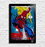 Arthole.it Spiderman Marvel Comics - Quadro Pop-Art Originale con Cornice, Dipinto, Stampa su Tela, Poster, Locandina
