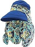Hestya 1 Pièces Protection Chapeaux de Soleil d'�té Cap Large Bord Cap de Bord Chapeaux de Pare-Soleil avec Protège-Cou pour Femmes et Dames (Bleu Marin)