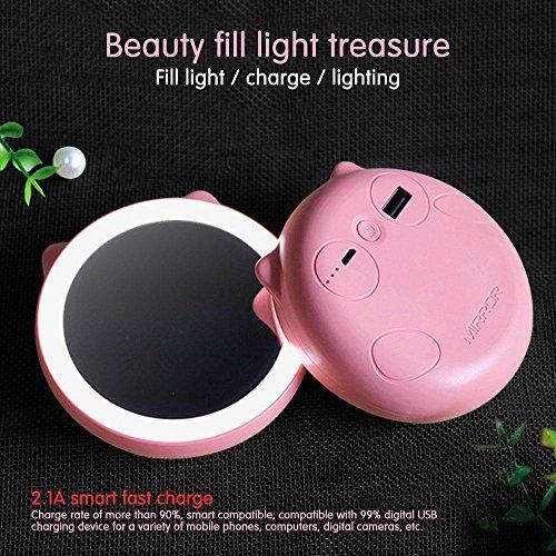 PAWACA fuente de alimentación portátil Banco de viaje espejo de mano espejo de maquillaje con luz LED rápido cargador para casa oficina viaje escuela iphone Andriod