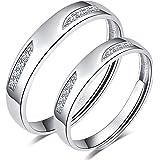 CPSLOVE Anello da coppia in argento sterling 925, Anelli da uomo e da donna semplice con zirconi intarsiati, misura regolabil