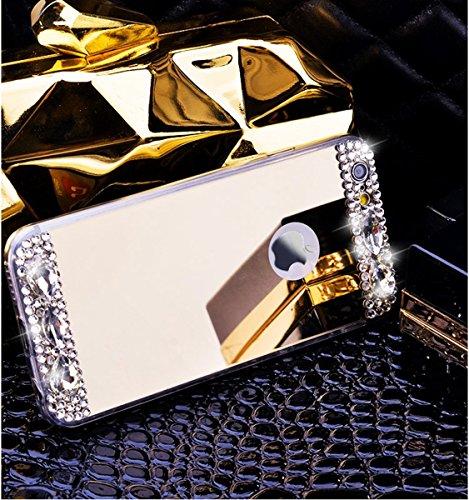 Etsue Glitzer Silikon Schutz HandyHülle für iPhone 6S/iPhone 6 Spiegel TPU Hülle, Mirror Effect Luxus Kristall Glitzer Glanz Sparkles Bling Diamant Silikon Handytasche iPhone 6S/iPhone 6 Ultradünnen K Diamant,Gold