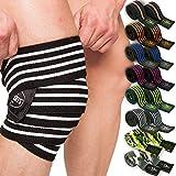 Fascia di bendaggio professionale per il ginocchio, 200cm, T25. Ideale per atletica pesante, powerlifting e bodybuilding. Colore: bianco, arancione o nero., sw-pink