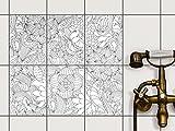 Dekor-Fliesen | Selbstklebende Aufkleber Folie Sticker Badfliesen Küchen-Folie Badezimmergestaltung | 15x20 cm Muster Ornament Flower Lines 2 - 6 Stück