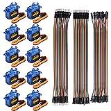 10 stuks SG90 Micro Servo motor 9G Servo met 120 stuks meerkleurige Dupont draad 40pin stekker op bus, Breadboard Jumper draden voor Arduino RC Robot Smart Car