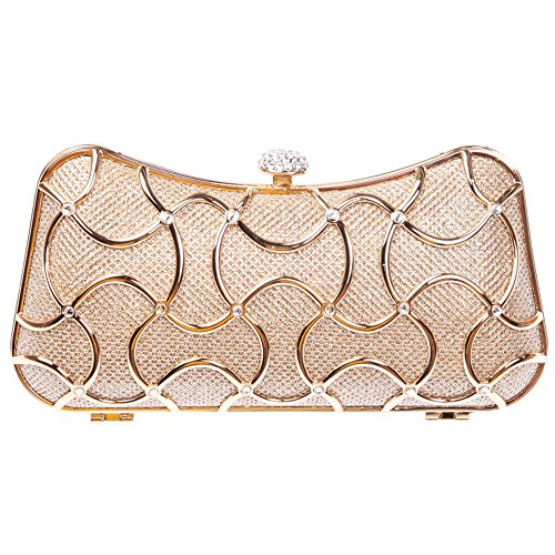 Bonjanvye Metal Clutch Evening Bags for Women Clutch With Handle Champagne (Günstige Iphone 4 Fälle Für Jungs)