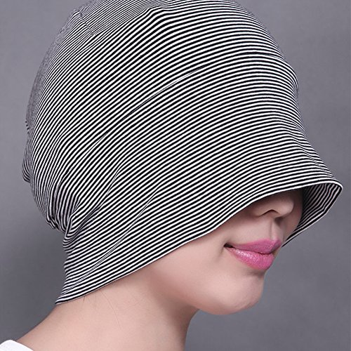 Surker Femmes Soft chapeau de nuit en coton chapeau Shading Cap Knit Stripe Chapeau Hat Sombrer rose clair