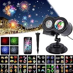 Luces para Proyectores de Año Nuevo 2019, ALED LIGHT Impermeable Exterior Decoración Luz de Proyector con Control Remoto y 16 Diapositivas de Patrón para Fiesta, Navidad, Festivos