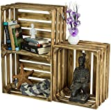 LAUBLUST 3er Set Sehr Große Vintage Holzkisten - 50x40x30cm, Geflammt, Unbenutzt | Möbel-Kiste | Wein-Kiste | Obst-Kiste | Apfel-Kiste | Deko-Kiste aus Holz