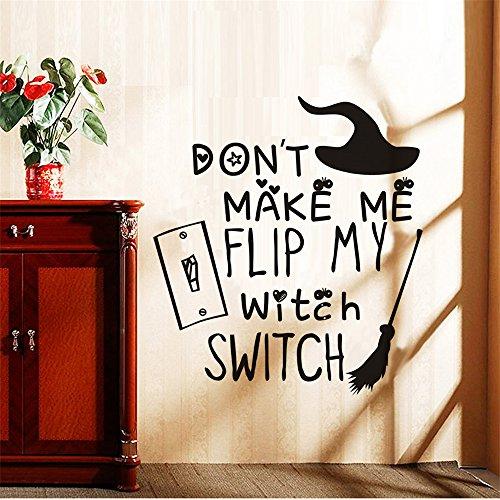 mer Wandtattoo Wohnzimmer Lustig machen mich nicht Fli meine Hexe Schalter Halloween Besenstiel Wandaufkleber für Wohnzimmer Kinderzimmer Kinder Schlafzimmer ()