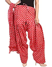 BILOCHI'S Women Printed Solid Cotton Full Patiala Salwar With Dupatta Set(Free Size, Red)