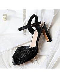 Jqdyl Tacones Nuevas Sandalias de Tacones Altos de Verano de Las Mujeres Gruesas con los Zapatos de la Madre con...