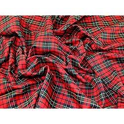 Tela de poliéster tartán a vestido Highland de cuadros escoceses, color rojo y verde–por metro