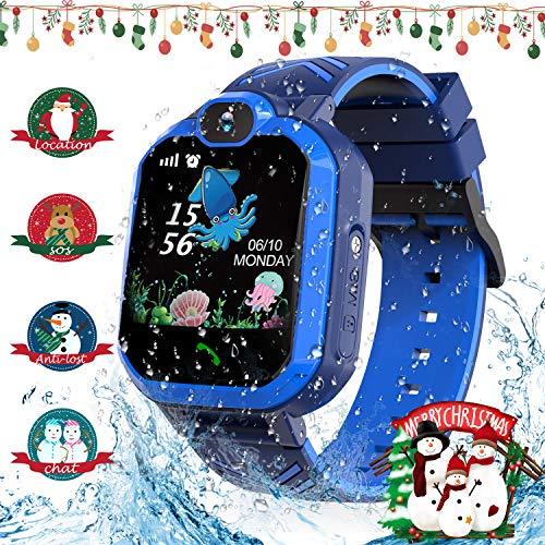 Jaybest Enfants Montre Intelligente Étanche, Montre Connectée Enfant Tracker Smartwatch pour SOS Telephone Fille Garçon Jouets Cadeau d'anniversaire (Navy Blue)
