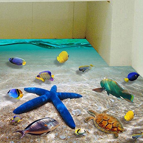 3D Kreativ Wandaufkleber, Meer Unterwasserwelt Aufkleber Abziehbilder Wand-Decke-Boden Deko Cartoon Deko Wandtapete Wandtattoos für Familie Deko Geburtstag Hochzeit Dekoration (Abziehbild-wand-aufkleber)