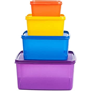 Signoraware Fresh Tab Plastic Storage Container, Set of 4, (2500ML, 1200 ML, 500 ML, 160 ML), Multicolor