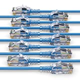 PureLink MC1504-015 Cable de red CAT6 UTP (10/100/1000 Mbit / s), extra delgado con 2 conectores RJ45, cable de conexión para interruptor, módem, enrutador, paneles de conexión, paneles de conexión, Juego de 10, 1,50m, azul