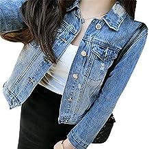 Mujeres Corto Chaquetas Jacket De Mezclilla Abrigo Denim Jackets Como La Imagen S