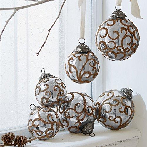 Loberon Weihnachtsschmuck 6er-Set Servane, Weihnachten, Glas, Silber