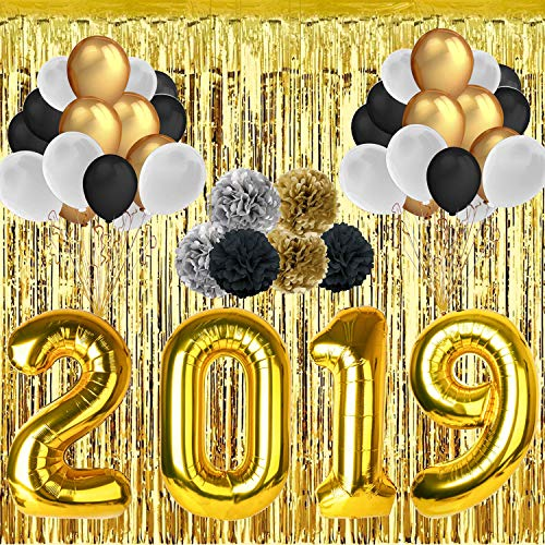 Silvester Deko Set- 40 Inch 2019 Gold Folien Ballon- 30 Stücke 12'' Latex Ballons- 118'' Metallfolie Dekorative Vorhäng- 6 Stücke 10'' Papierblumenball Party deko Silvester