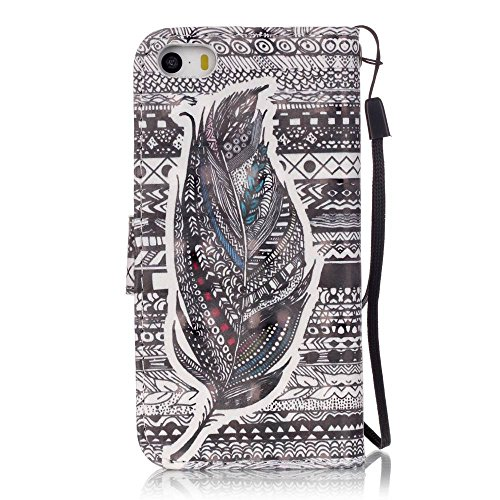 Etui Coque iPhone SE/iPhone 5 5S, Sunroyal® Housse Bookstyle Portefeuille Strap Case Cover PU Cuir pour Apple iPhone SE/5/5s Couvrir Skin Téléphone Portable de Protection Bumper Rabat Folio Swag Couve Pattern 24