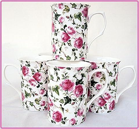 Ivy Rose Mugs Set of Six Fine Bone China Pink Roses Flowers Mugs Hand Decorated in the UK Free UK