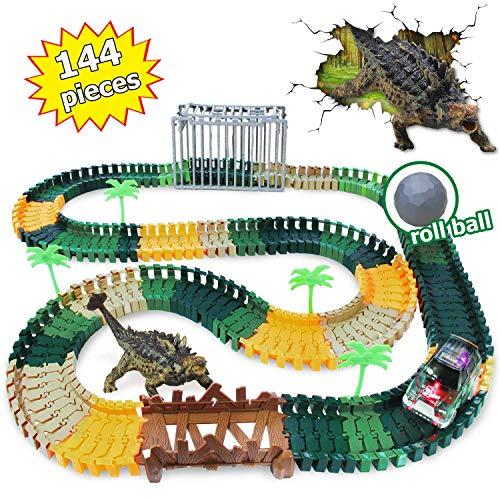 Jouet Dinosaure Piste de course de voiture Dino Track avec 1 Ankylosaurus, 1 voiture de course pour dinosaure à LED Meilleur bébé Dino Toys Cadeaux (144 morceaux de piste)