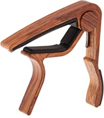 MagiDeal Pro Quick Change Tune Clamp Key Trigger Guitar Capo For Acoustic Electric - rose wood grain