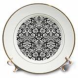 3dRose CP 151442_ 1schwarz Damast weiß Stylish Swirly Französischen Blumenmuster Vintage Sophisticated Blumige wallpaper-porcelain Teller, 20,3cm