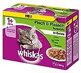 Whiskas Katzenfutter Gemischte Auswahl in Gelee 1+ für erwachsene Katzen, 48 Portionsbeutel, (4 x 12 x 100 g)