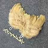 HENGSONG Foto Prop Baby Kostüm Engelsflügel Feder Flügel Stirnband Set Fotografie Kostüm für Kinder (Gold)