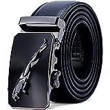 Mens Belt Genuine Leather Ratchet Belts for Men, Stylish Jaguar Metal Buckles Sliding Automatic Waist Belt Business Dress Sui