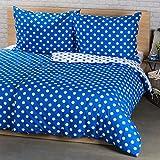4Home Baumwolle Bettwäsche Blauer Punkt, Weiß, 200 x 140 cm, 2-Einheiten