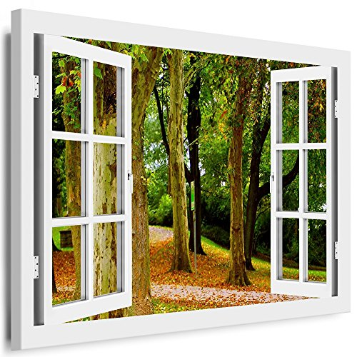 BOIKAL XXL115-5 Fensterblick Leinwand bild 3D Illusion - Fertig Gerahmte Bilder kein Poster - Wandbild 100 x 80 cm Weiß - Farbe Große 21 Variante wählbar - Fenster Kunstdruck Landschaft Wald-weg Herbst, Bäume