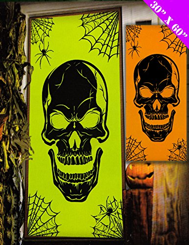 2 er Set Halloween Party Deko-Tür, Neonorange/Grün, (Türen Dekorieren Halloween Für)