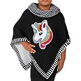 Candygirls Poncho de unicornio reversible con lentejuelas, cuello alto, suéter para niños, jaspeado