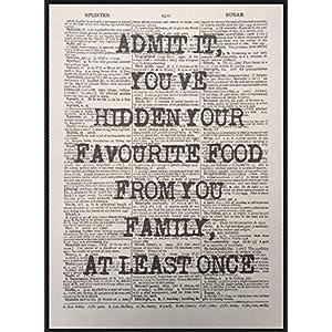 Parksmoonprints Wörterbuch-Druck mit lustigem Essens-Zitat im Vintage-Stil, Wandkunst, Bild, Küche, Café, Kaffee