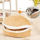 AAAHOMEEU lavable en forma de concha de diseño de la hamburguesa lavable cama de mascota cama suave casa de cama térmica de algodón gato saco de dormir
