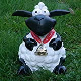 Schaf Molly sitzend Glocke Dekofigur Gartenfigur Deko weiß