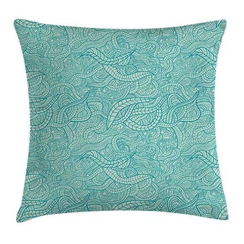 Ntpclsuits Aqua Pillow case Vintage Botanic Nature Leaves Veins Swirls Ivy Mosaic Inspired Image Print 18 X 18 inches