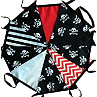 3 mtrs / 10 flags pirate skull and crossbones fabric bunting / banner / garland