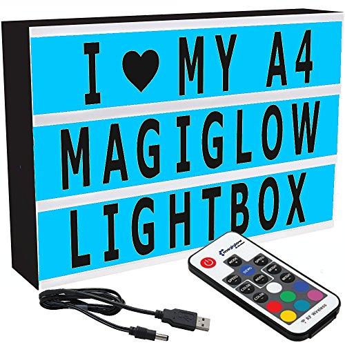 MagiGlow Leuchtkasten, A4,für Nachrichten, mit 100 schwarzen Buchstaben, mit Netzteil, plastik, schwarz, A4