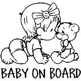 Erospa Auto Aufkleber Kfz Baby On Board Kind Mit Surfbrett Car Sticker Schwarz Baby