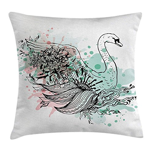 ZTLKFL Animal Throw Pillow Cushion Cover, Hand Sketch Swan Bird Floral Details and Color Splashes Watercolors, Decorative Square Accent Pillow Case, 18 X18 Inches, Mint Green Light Pink Black Light Pink Double Sided Satin