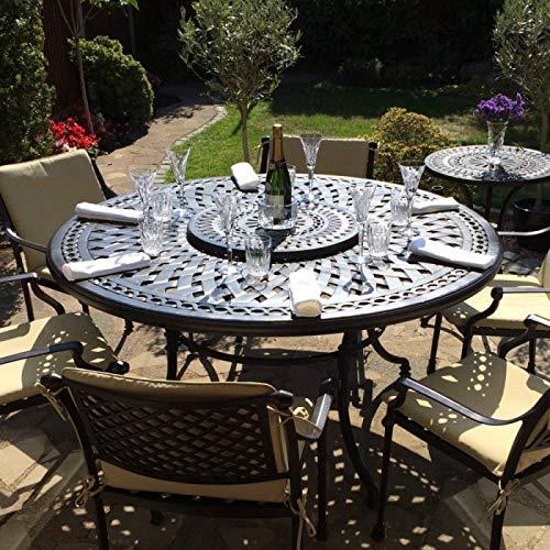 Lazy Susan - FRANCES 150 cm Runder Gartentisch mit 6 Stühlen - Gartenmöbel Set aus Metall, Antik Bronze (APRIL Stühle) (Lazy Susan Tisch)